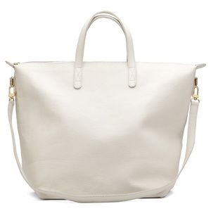 Cuyana Small Carryall Tote in Ecru Pebbled Leather